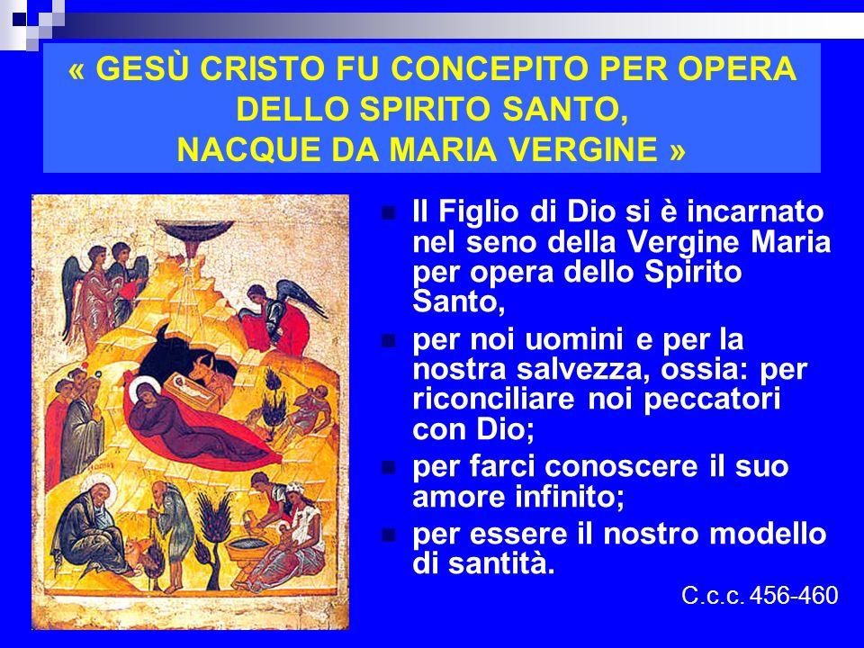 « GESÙ CRISTO FU CONCEPITO PER OPERA DELLO SPIRITO SANTO, NACQUE DA MARIA VERGINE »
