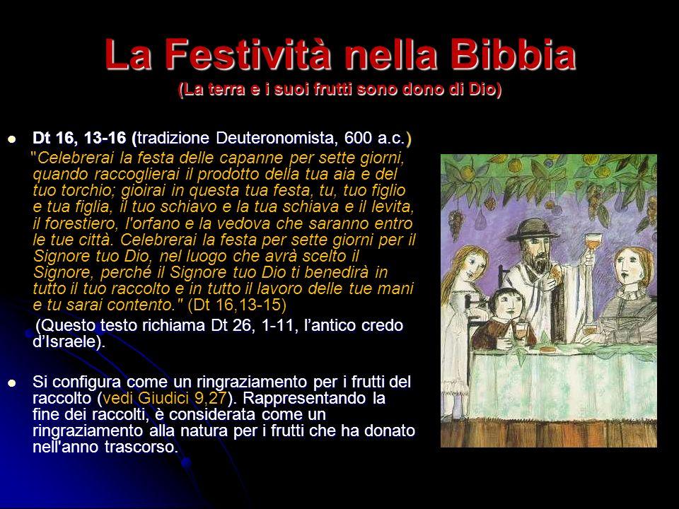La Festività nella Bibbia (La terra e i suoi frutti sono dono di Dio)