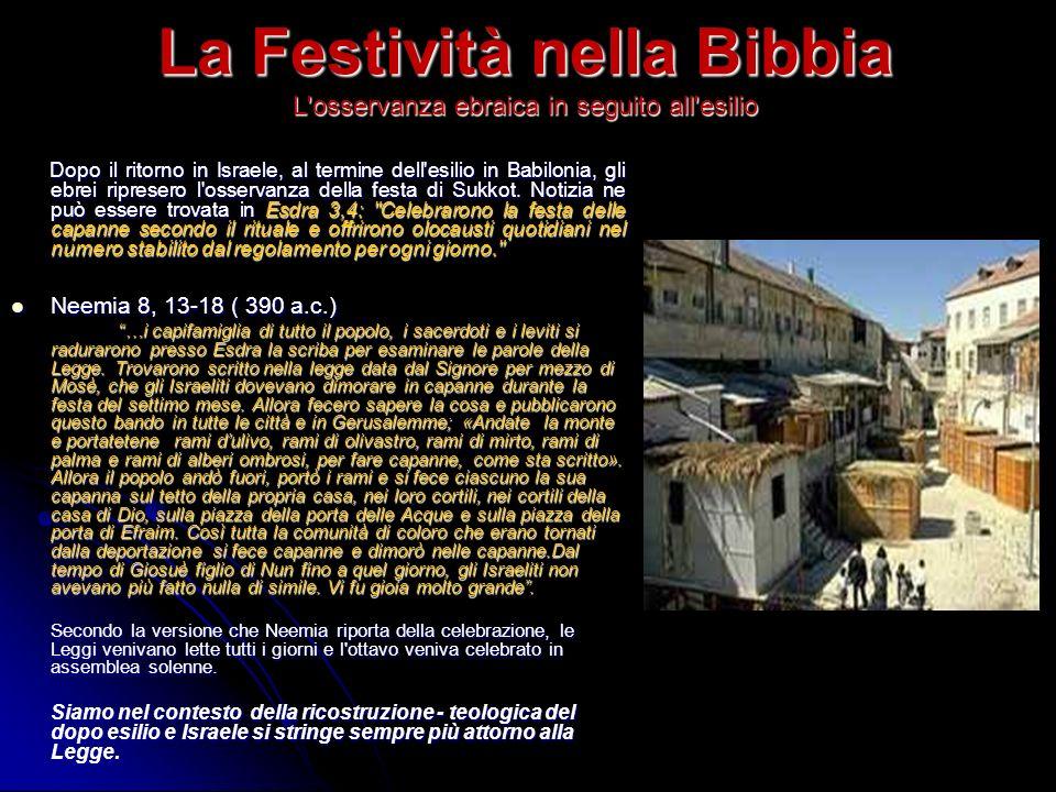 La Festività nella Bibbia L osservanza ebraica in seguito all esilio