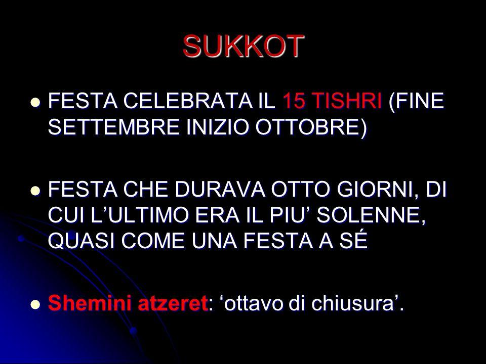 SUKKOT FESTA CELEBRATA IL 15 TISHRI (FINE SETTEMBRE INIZIO OTTOBRE)