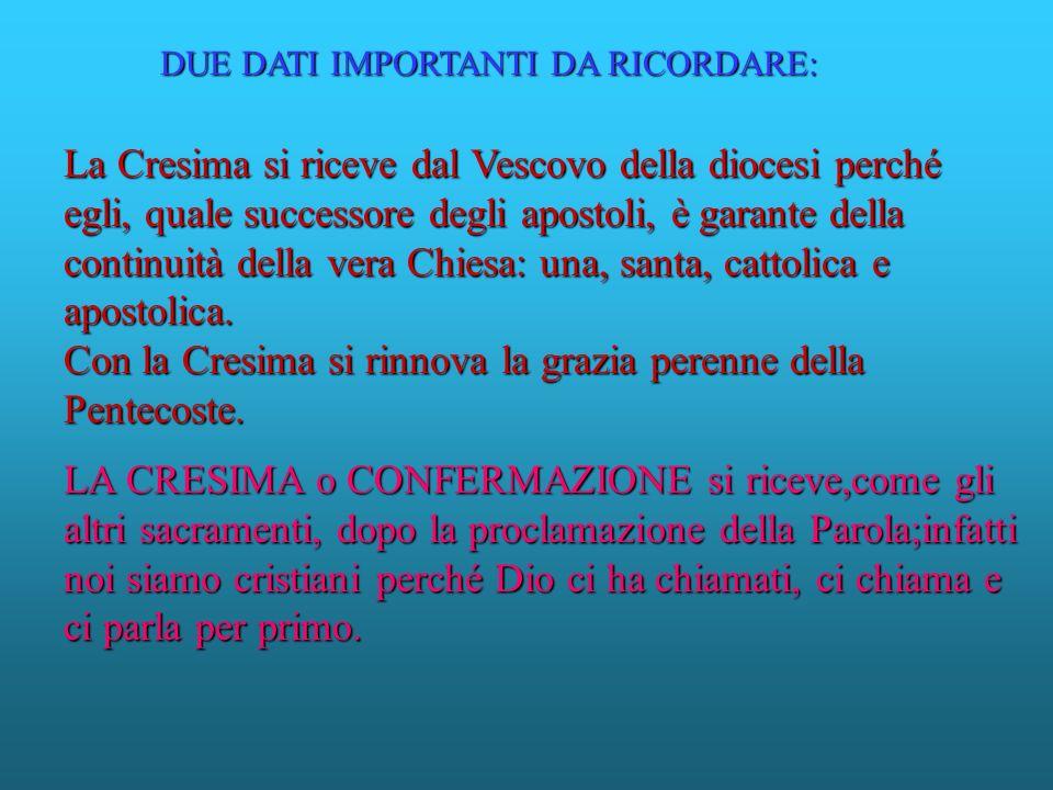 La Cresima si riceve dal Vescovo della diocesi perché