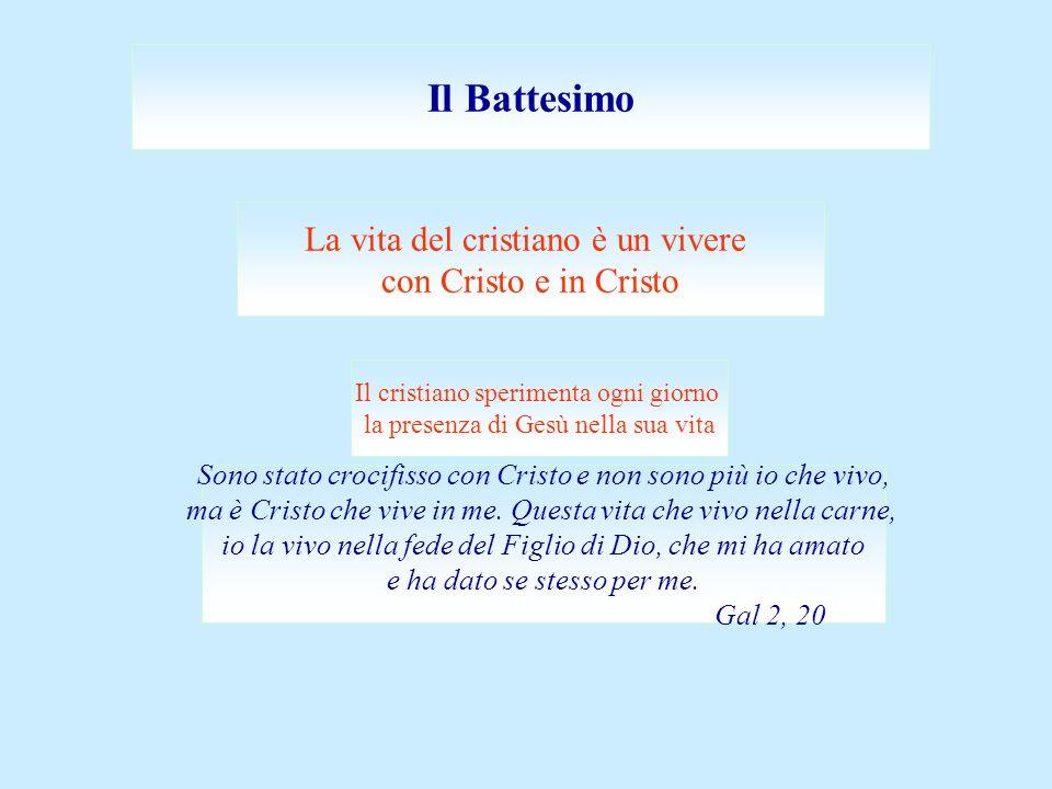 Il Battesimo La vita del cristiano è un vivere con Cristo e in Cristo