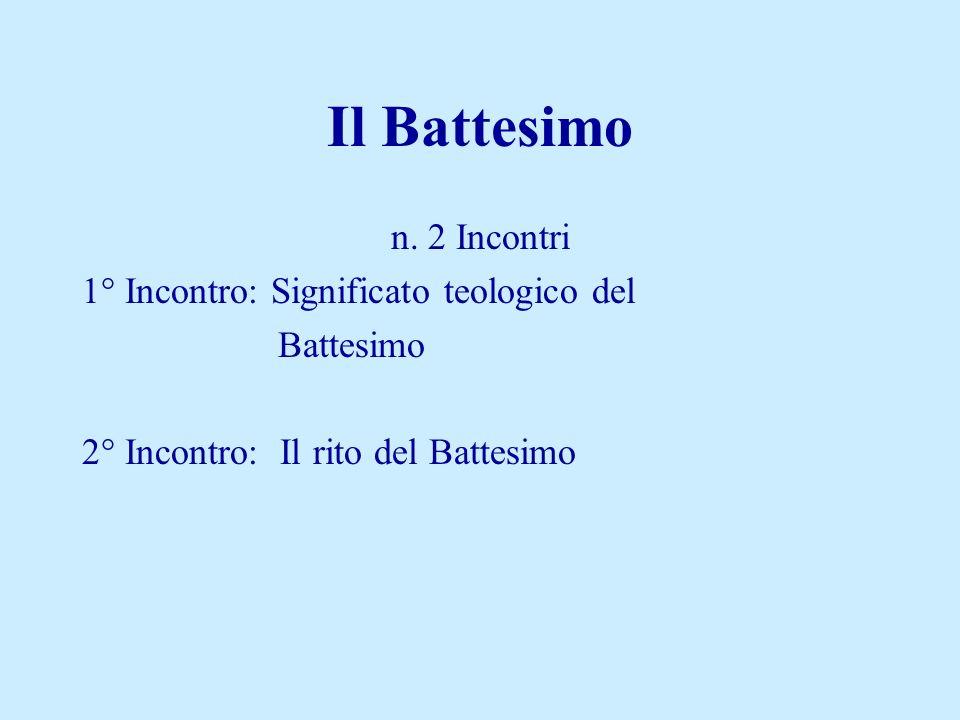 Il Battesimo n. 2 Incontri 1° Incontro: Significato teologico del