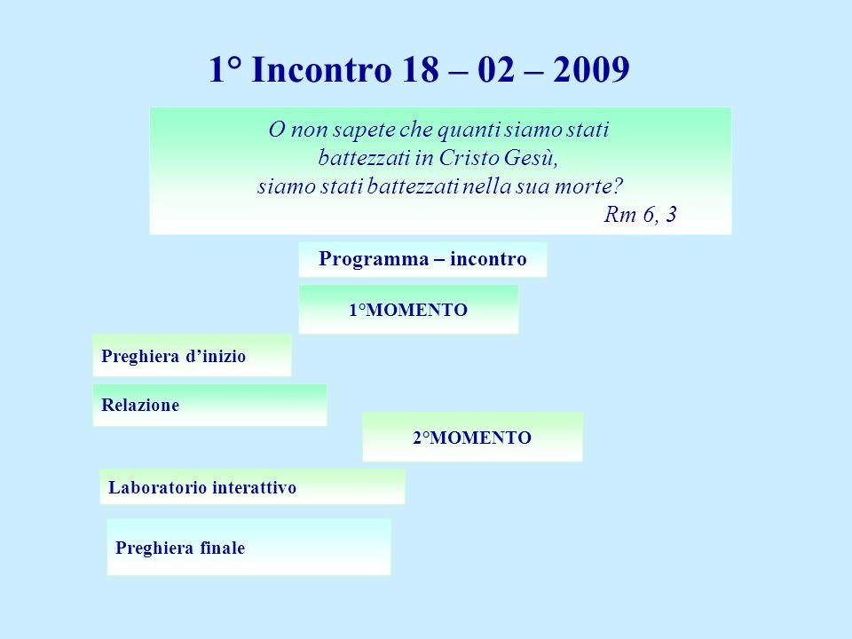 1° Incontro 18 – 02 – 2009 O non sapete che quanti siamo stati