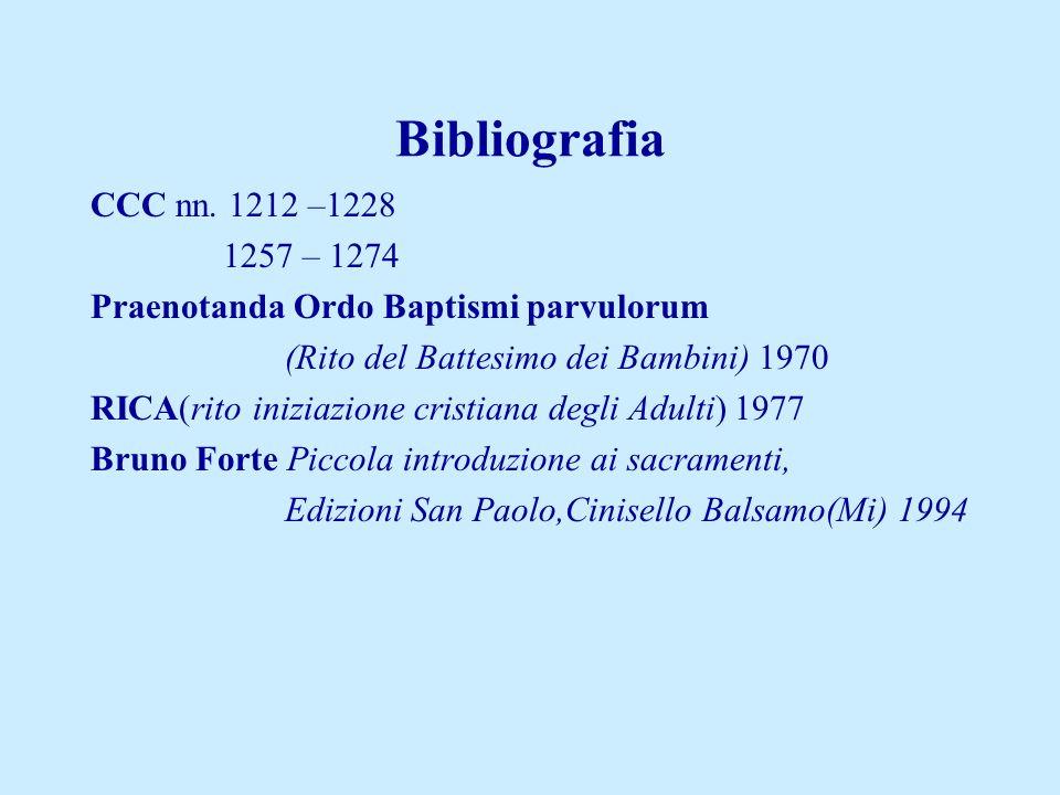 Bibliografia CCC nn. 1212 –1228. 1257 – 1274. Praenotanda Ordo Baptismi parvulorum. (Rito del Battesimo dei Bambini) 1970.