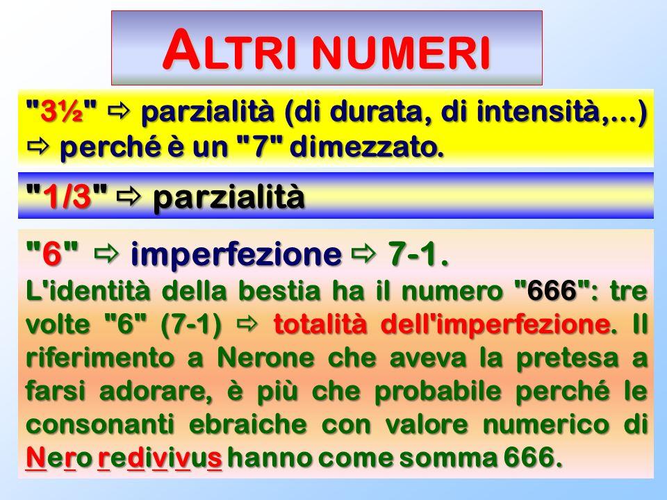 Altri numeri 1/3  parzialità 6  imperfezione  7-1.