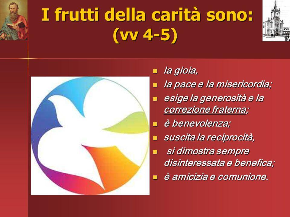 I frutti della carità sono: (vv 4-5)