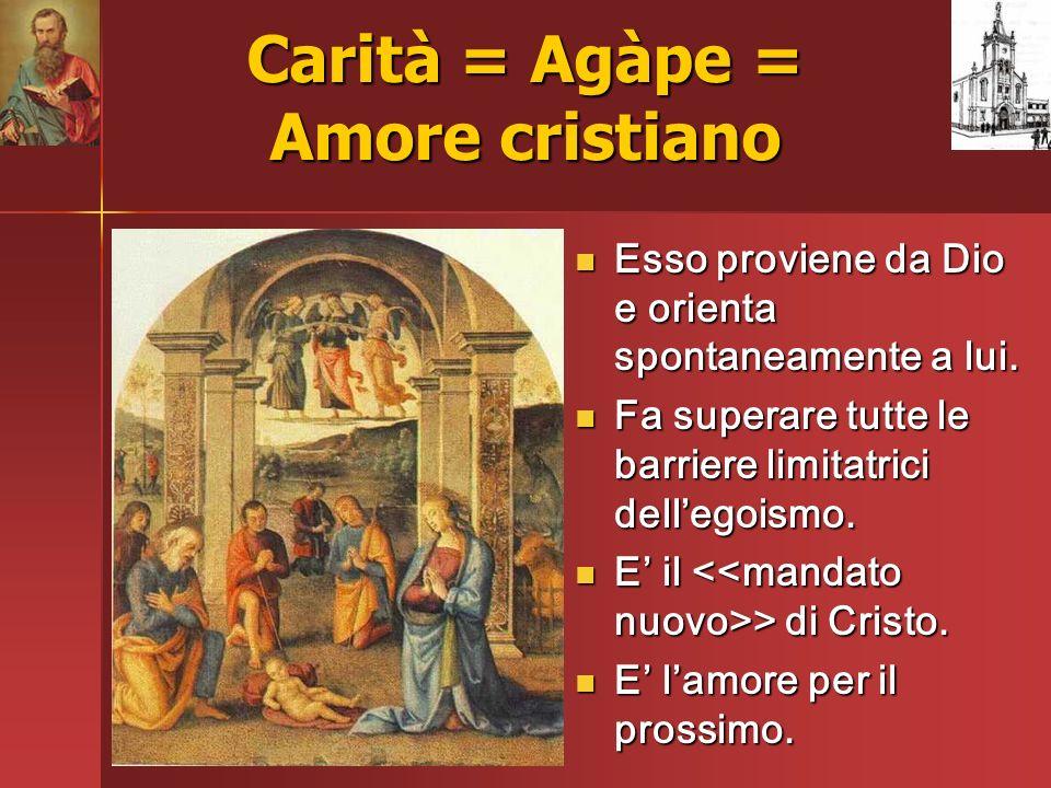 Carità = Agàpe = Amore cristiano