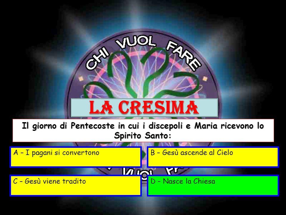 LA CRESIMA Il giorno di Pentecoste in cui i discepoli e Maria ricevono lo Spirito Santo: A – I pagani si convertono.