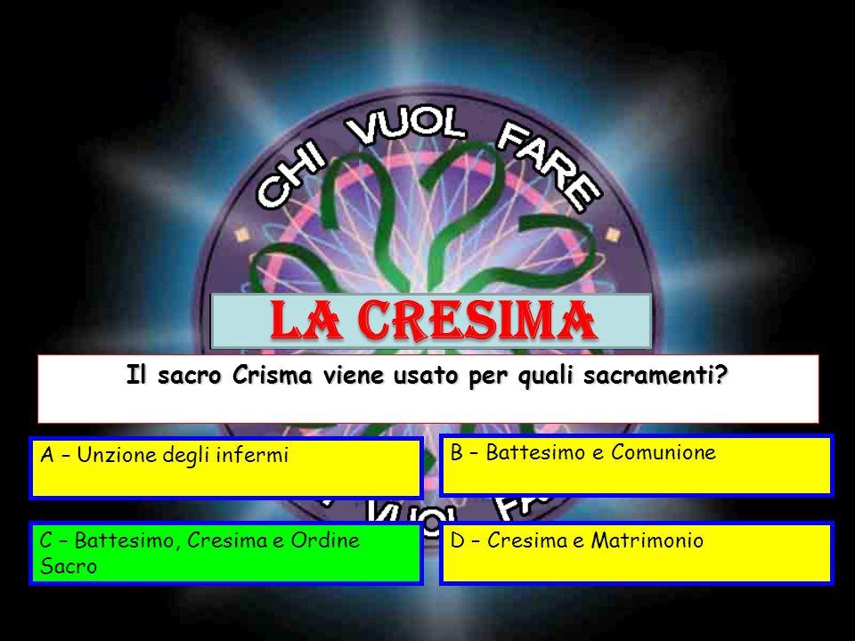 Il sacro Crisma viene usato per quali sacramenti