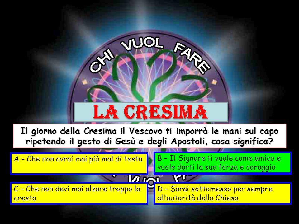LA CRESIMA Il giorno della Cresima il Vescovo ti imporrà le mani sul capo ripetendo il gesto di Gesù e degli Apostoli, cosa significa