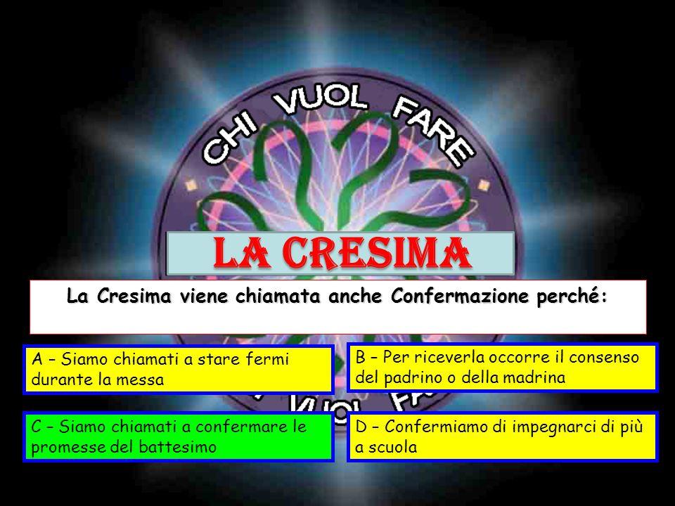 La Cresima viene chiamata anche Confermazione perché:
