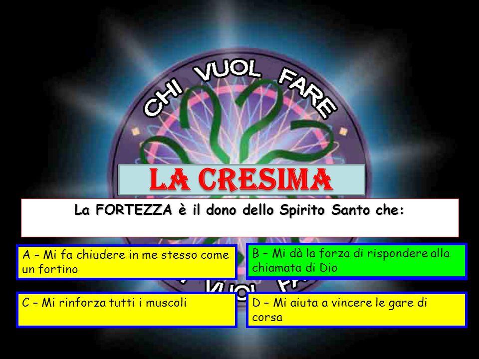 La FORTEZZA è il dono dello Spirito Santo che: