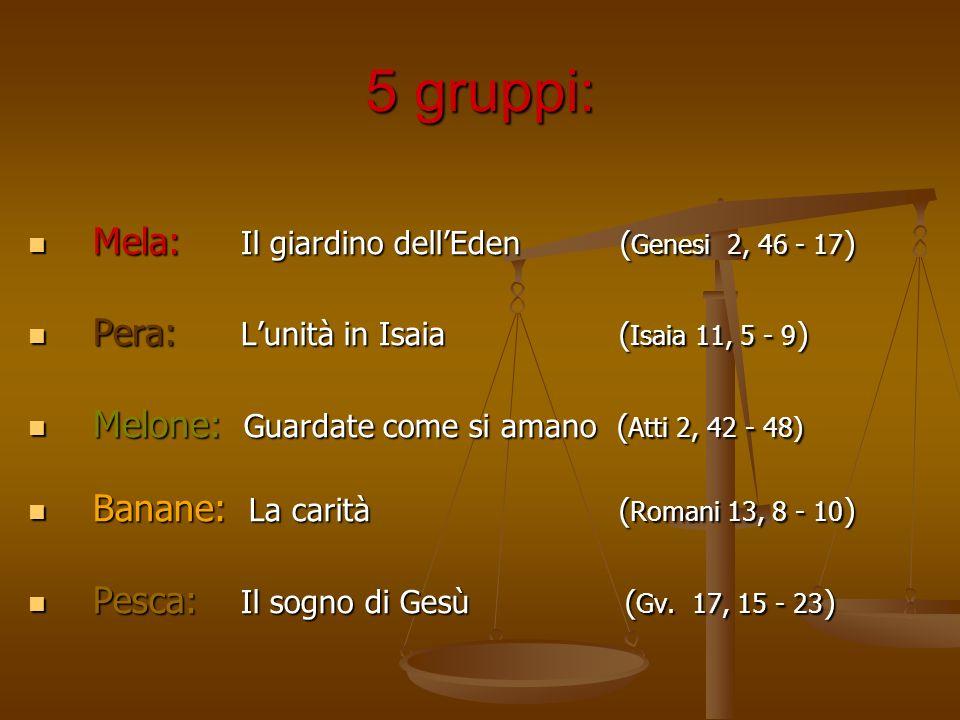 5 gruppi: Mela: Il giardino dell'Eden (Genesi 2, 46 - 17)