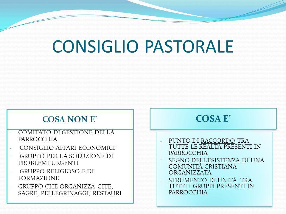 CONSIGLIO PASTORALE COSA E' COSA NON E'
