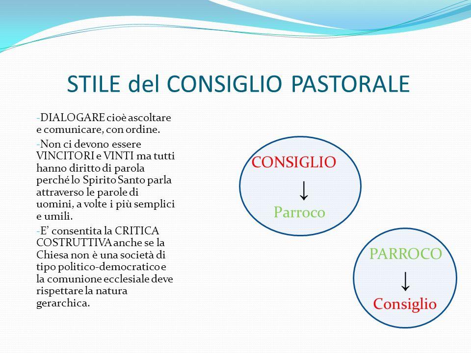 STILE del CONSIGLIO PASTORALE
