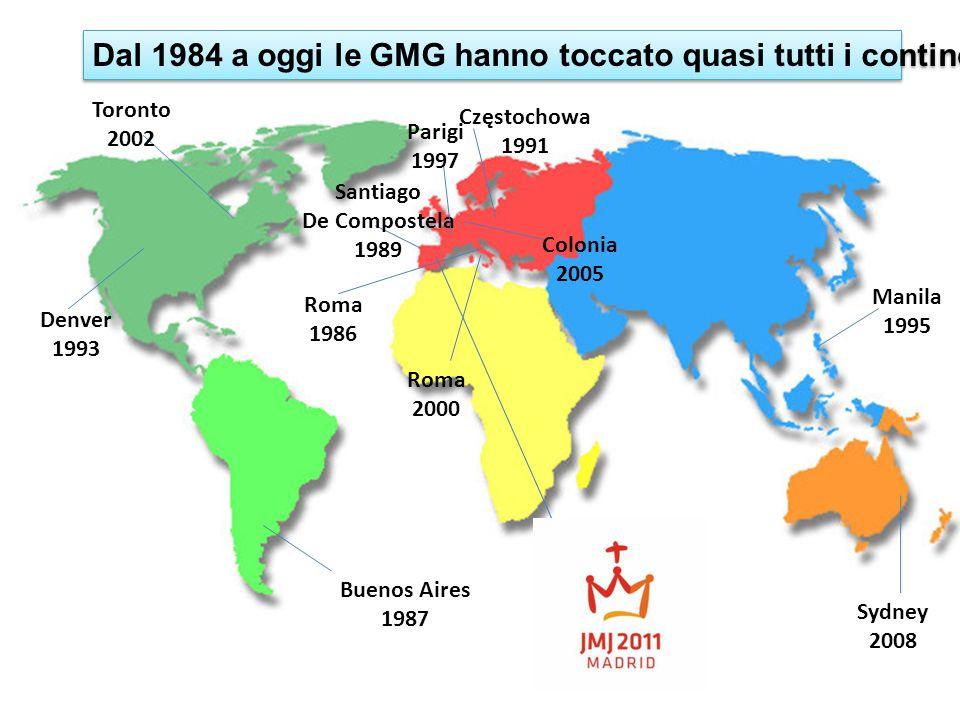 Dal 1984 a oggi le GMG hanno toccato quasi tutti i continenti