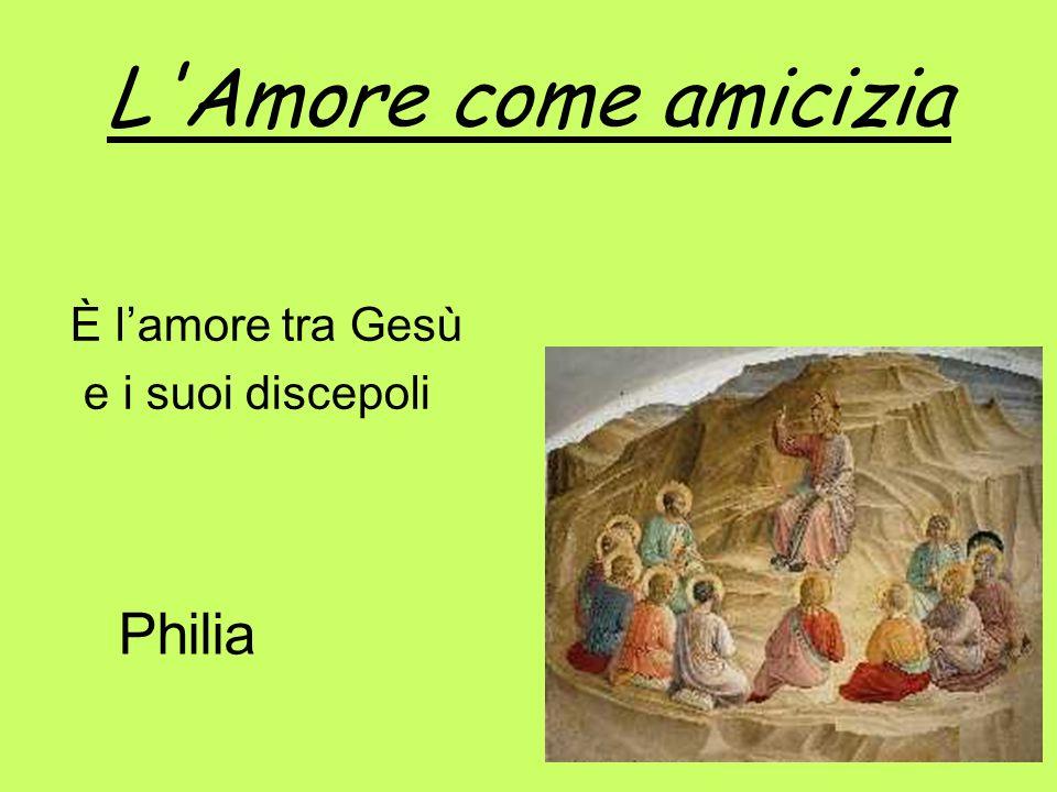 L Amore come amicizia È l'amore tra Gesù e i suoi discepoli Philia