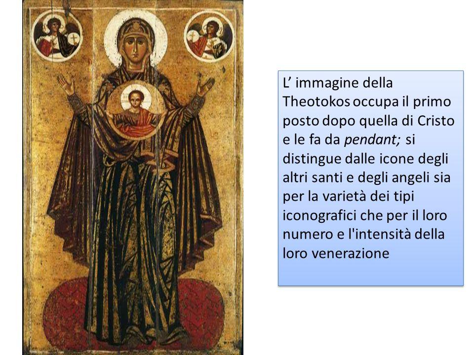 L' immagine della Theotokos occupa il primo posto dopo quella di Cristo e le fa da pendant; si distingue dalle icone degli altri santi e degli angeli sia per la varietà dei tipi iconografici che per il loro numero e l intensità della loro venerazione