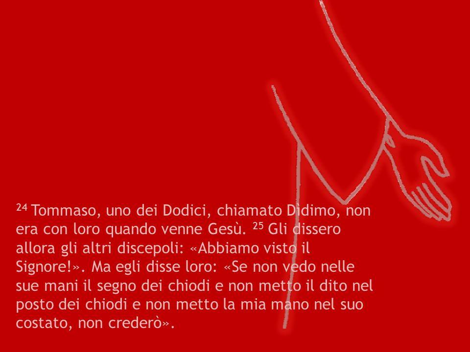 24 Tommaso, uno dei Dodici, chiamato Dìdimo, non era con loro quando venne Gesù.