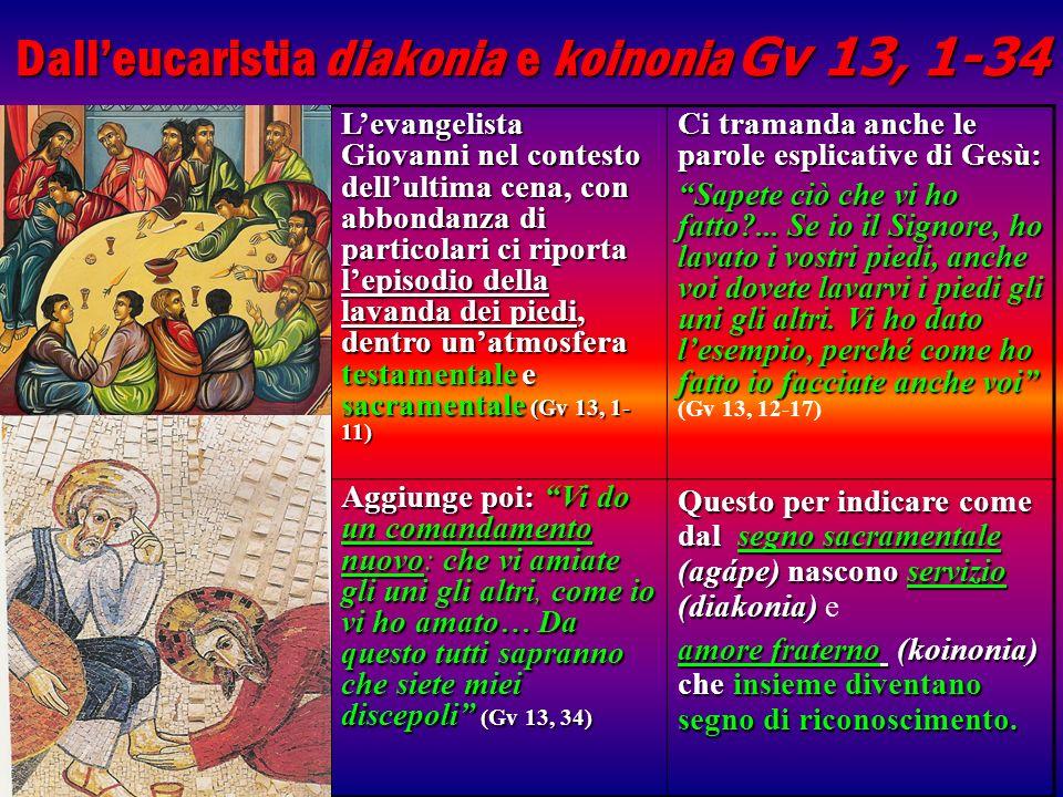 Dall'eucaristia diakonia e koinonia Gv 13, 1-34