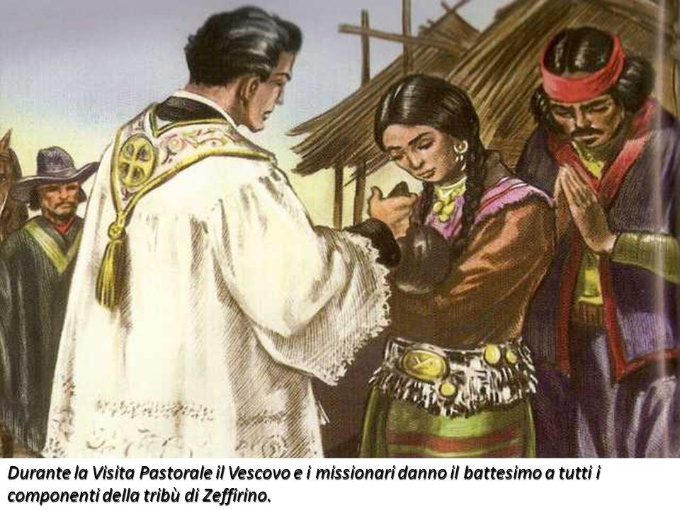 Durante la Visita Pastorale il Vescovo e i missionari danno il battesimo a tutti i componenti della tribù di Zeffirino.
