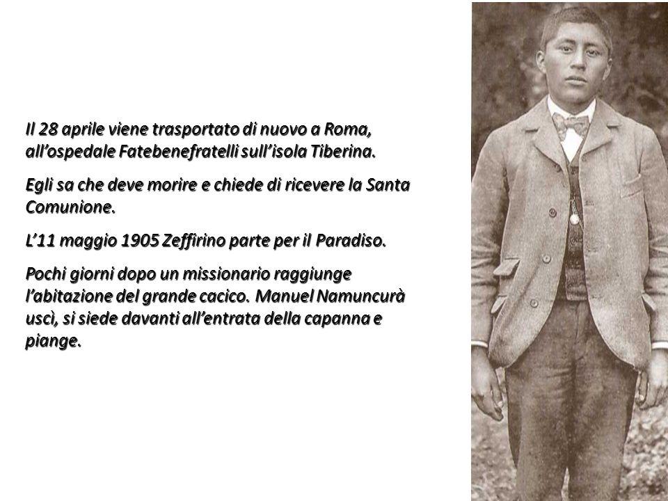 Il 28 aprile viene trasportato di nuovo a Roma, all'ospedale Fatebenefratelli sull'isola Tiberina.
