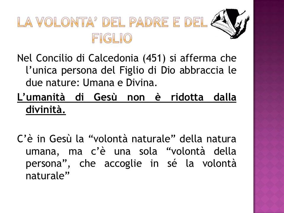 Nel Concilio di Calcedonia (451) si afferma che l'unica persona del Figlio di Dio abbraccia le due nature: Umana e Divina.