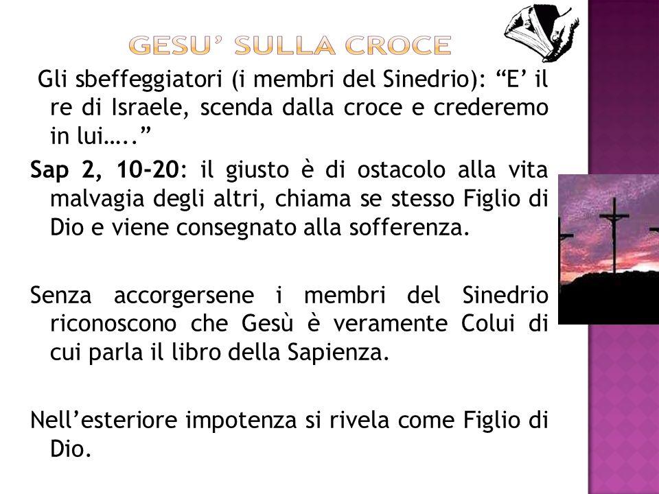 Gli sbeffeggiatori (i membri del Sinedrio): E' il re di Israele, scenda dalla croce e crederemo in lui…..