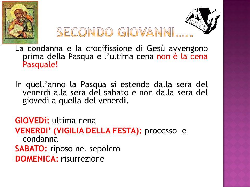La condanna e la crocifissione di Gesù avvengono prima della Pasqua e l'ultima cena non è la cena Pasquale.