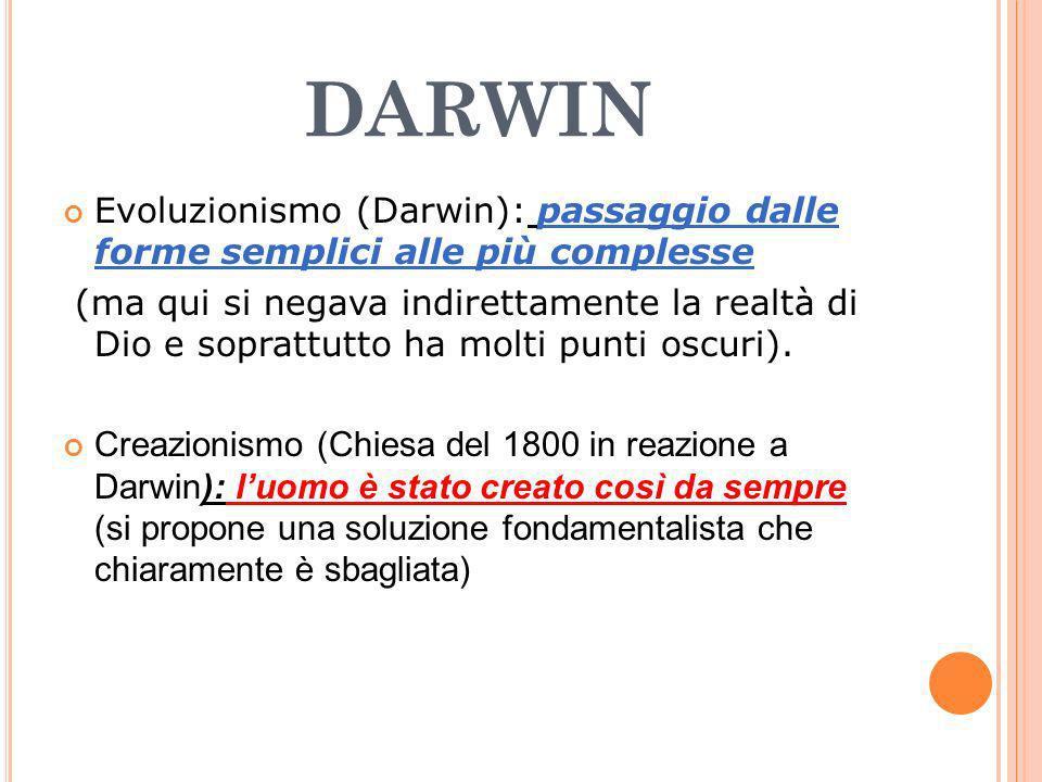 darwin Evoluzionismo (Darwin): passaggio dalle forme semplici alle più complesse.