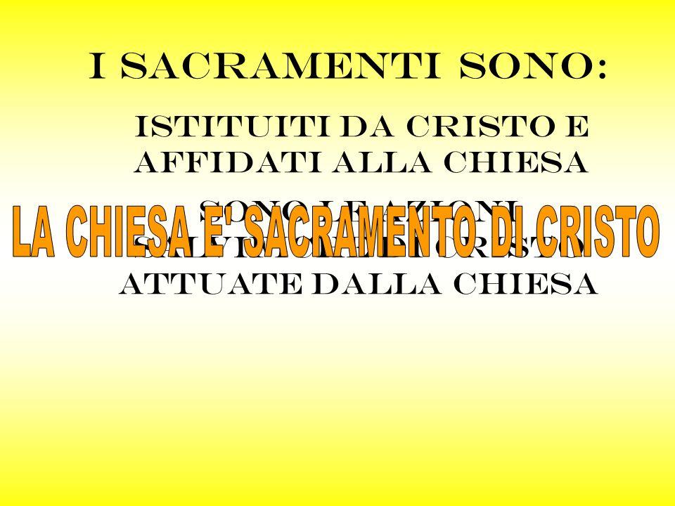 LA CHIESA E SACRAMENTO DI CRISTO