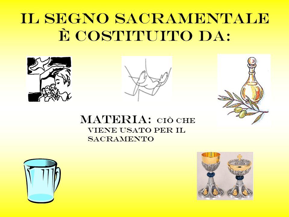 Il segno sacramentale è costituito da: