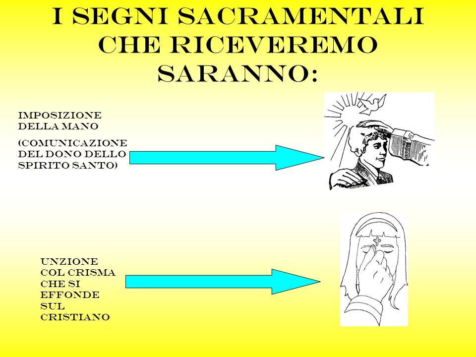 I segni sacramentali che riceveremo saranno: