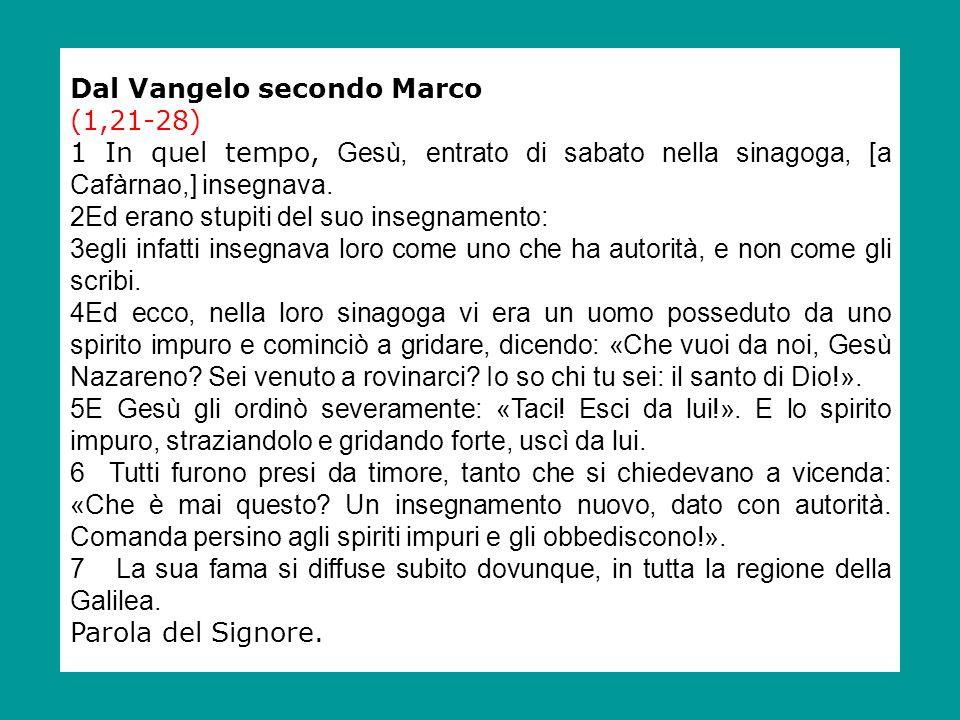 Dal Vangelo secondo Marco