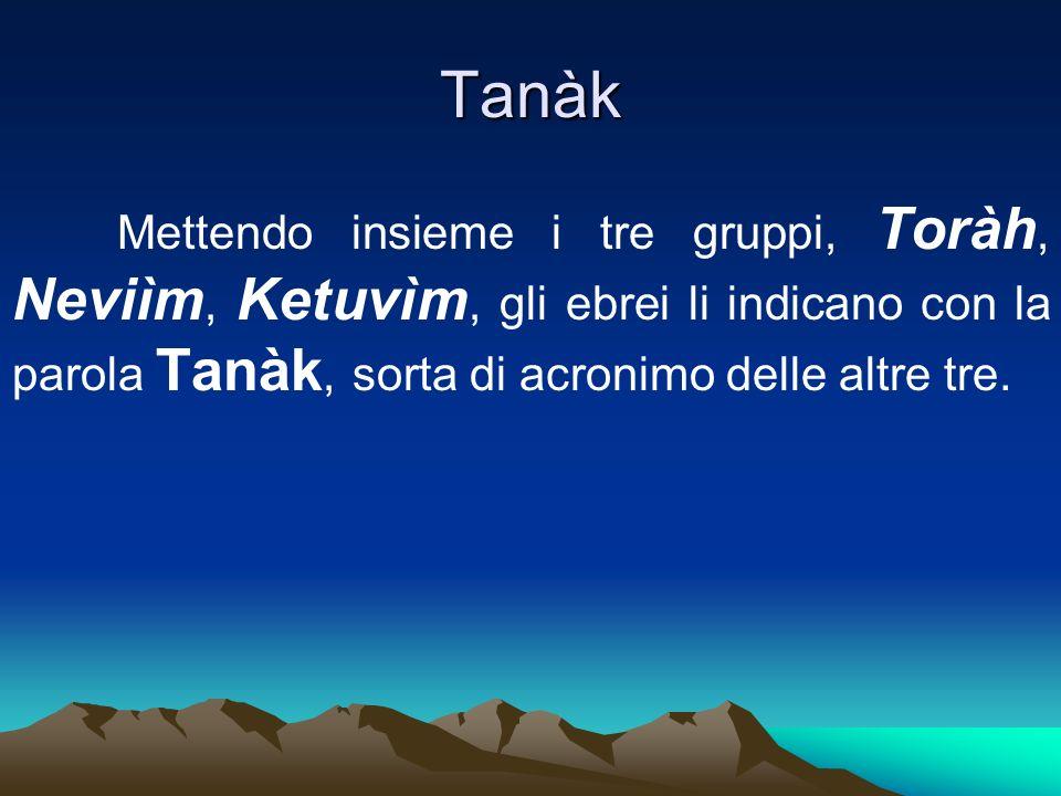 Tanàk Mettendo insieme i tre gruppi, Toràh, Neviìm, Ketuvìm, gli ebrei li indicano con la parola Tanàk, sorta di acronimo delle altre tre.