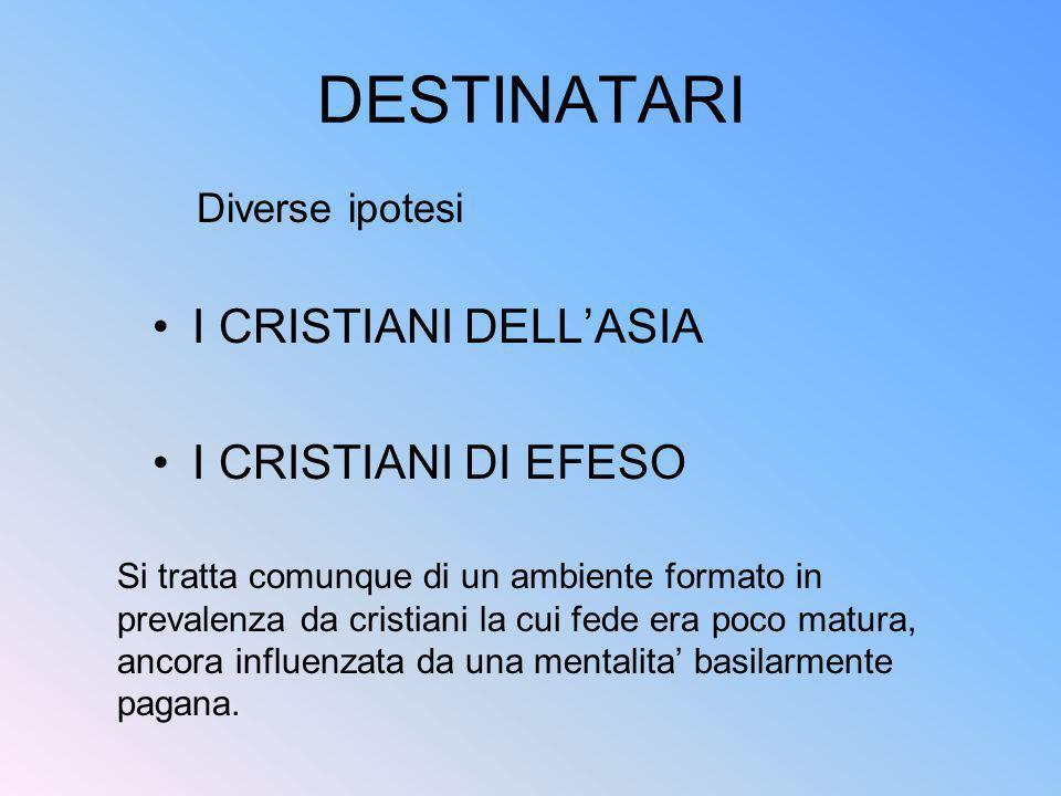 DESTINATARI I CRISTIANI DELL'ASIA I CRISTIANI DI EFESO Diverse ipotesi