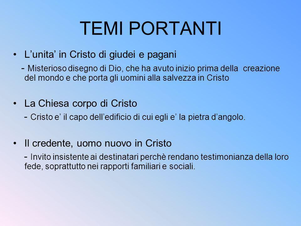 TEMI PORTANTI L'unita' in Cristo di giudei e pagani