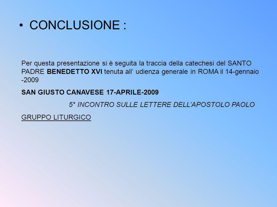 5° INCONTRO SULLE LETTERE DELL'APOSTOLO PAOLO