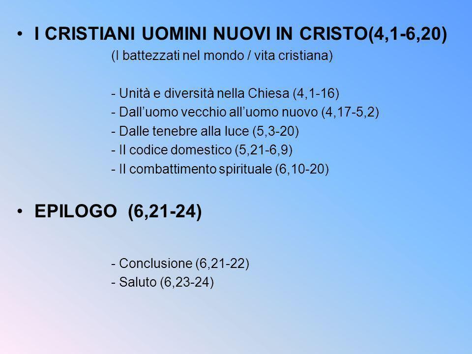 I CRISTIANI UOMINI NUOVI IN CRISTO(4,1-6,20)