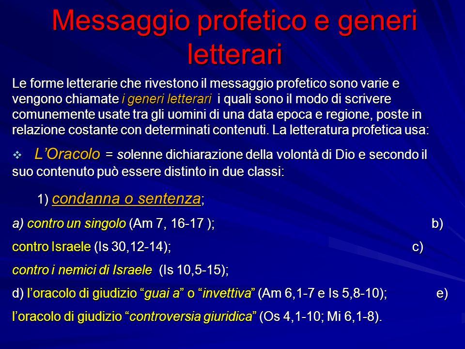 Messaggio profetico e generi letterari