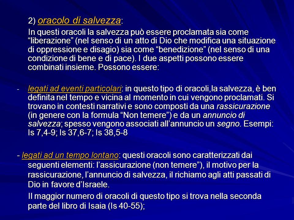 2) oracolo di salvezza: