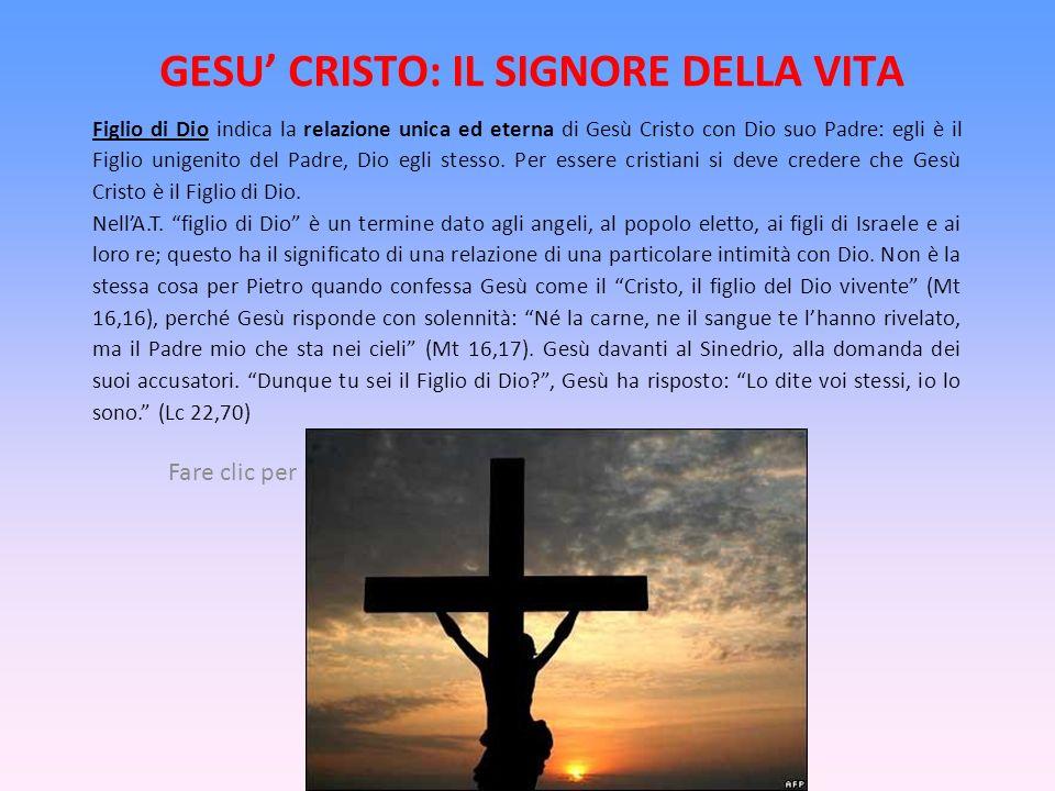 GESU' CRISTO: IL SIGNORE DELLA VITA