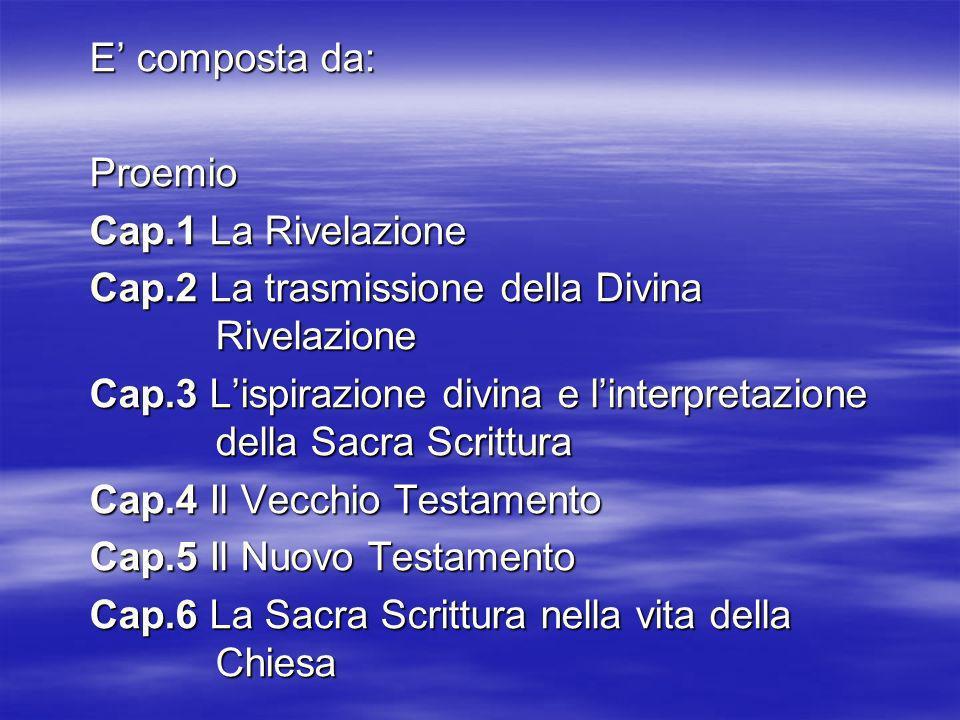 E' composta da: Proemio. Cap.1 La Rivelazione. Cap.2 La trasmissione della Divina Rivelazione.