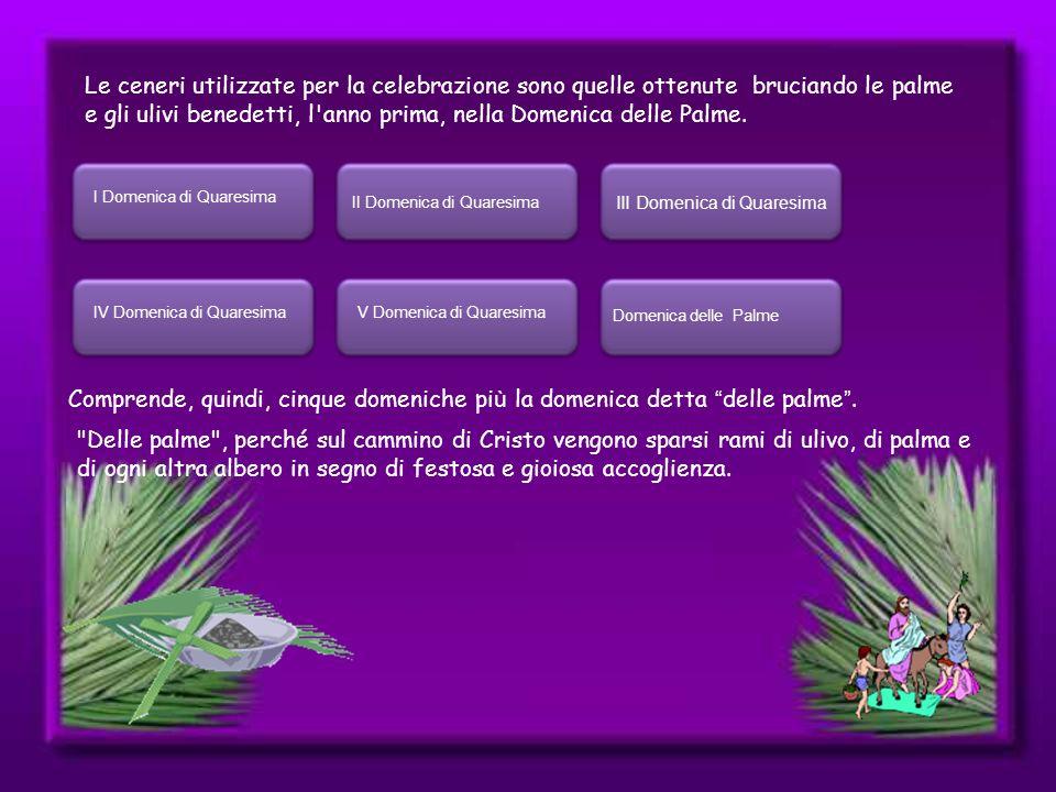 Le ceneri utilizzate per la celebrazione sono quelle ottenute bruciando le palme e gli ulivi benedetti, l anno prima, nella Domenica delle Palme.