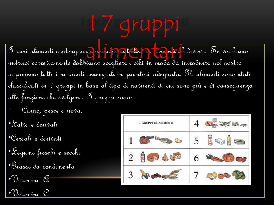 I 7 gruppi alimentari