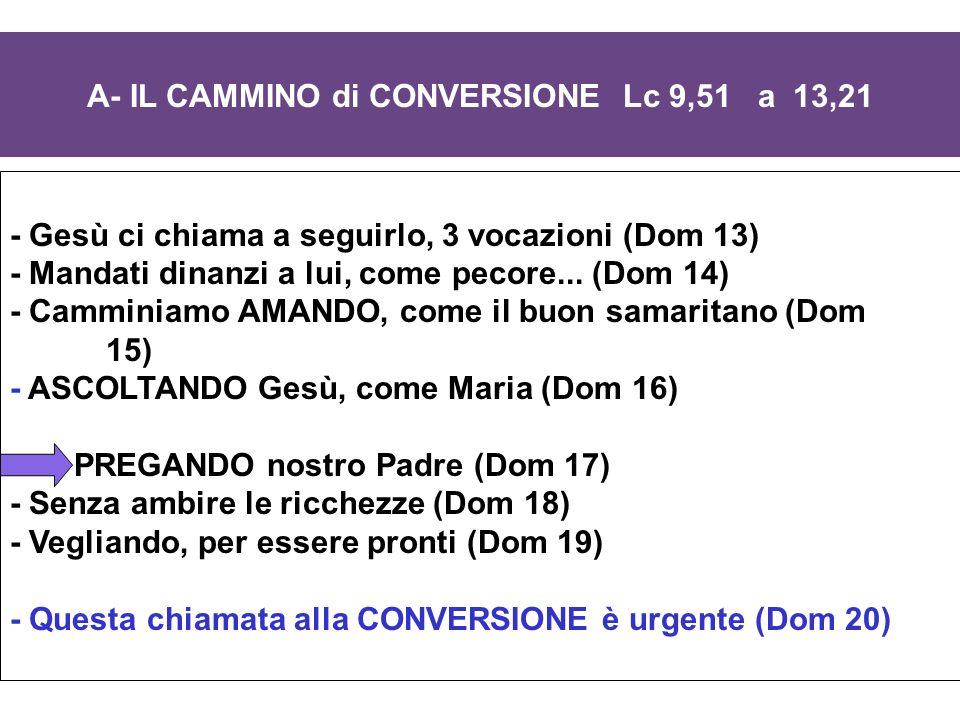 A- IL CAMMINO di CONVERSIONE Lc 9,51 a 13,21