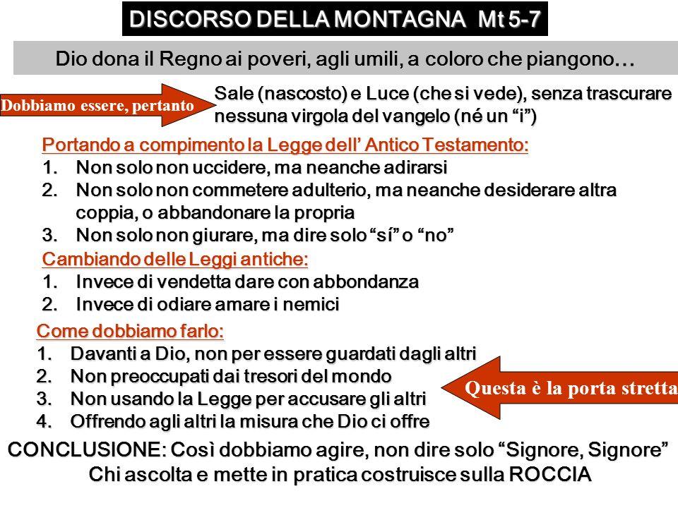 DISCORSO DELLA MONTAGNA Mt 5-7