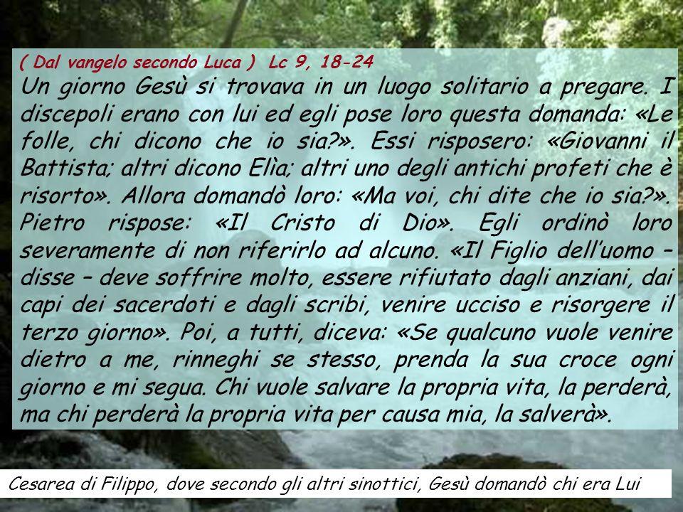 ( Dal vangelo secondo Luca ) Lc 9, 18-24