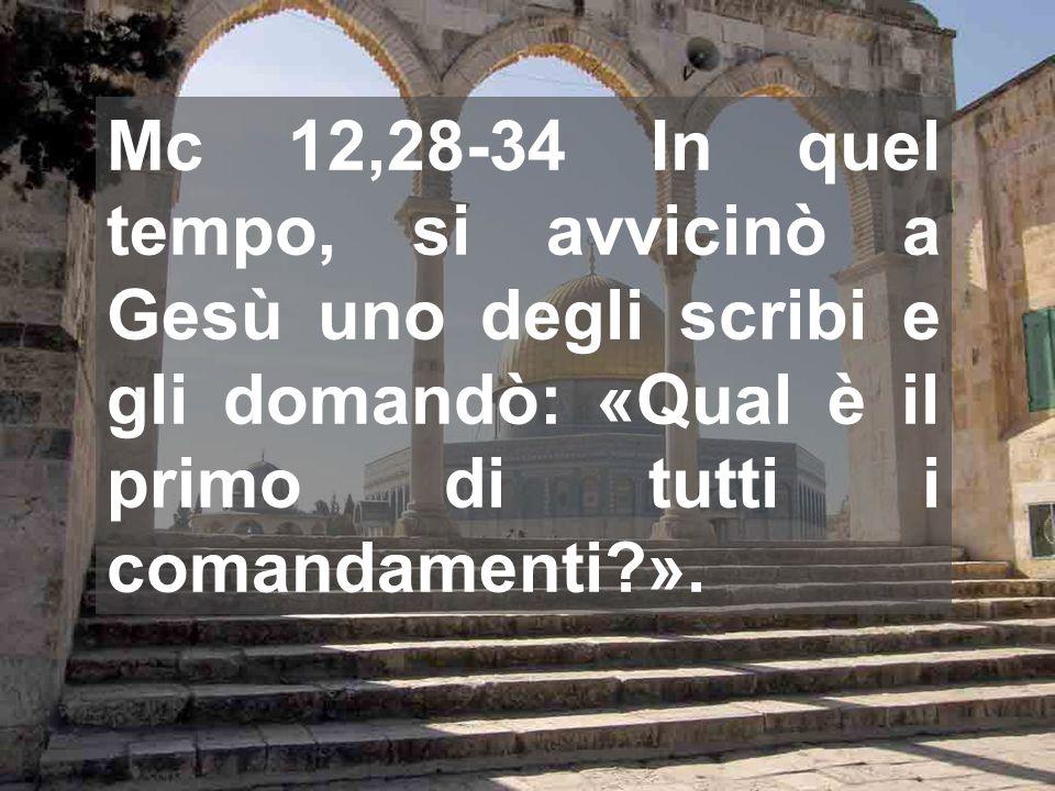 Mc 12,28-34 In quel tempo, si avvicinò a Gesù uno degli scribi e gli domandò: «Qual è il primo di tutti i comandamenti ».